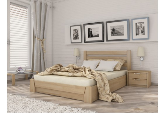 Двоспальне ліжко Естелла Селена з підйомним механізмом 140х200 буковий щит (LP-02)