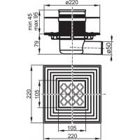 Компактний душовий трап Ravak SN501 105x105/50 (X01435)