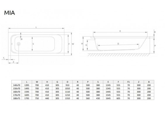 Ванна Radaway Mia 160x70 + ніжки (WA1-50-160x070U)