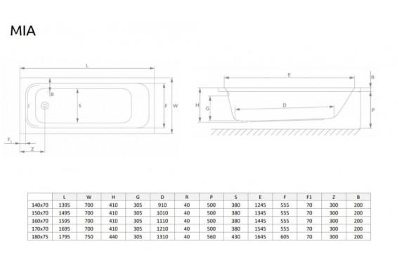 Ванна Radaway Mia 180x75 + ніжки (WA1-50-180x075U)