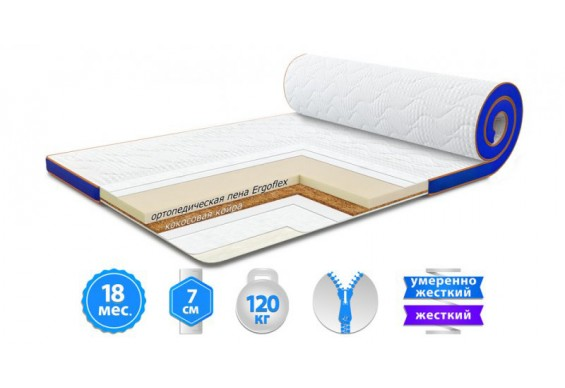 Футон Sleep&Fly Flex 2 в 1 Kokos Стрейч 70x190 см (3003740701906)
