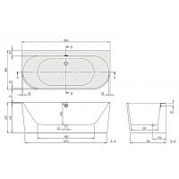 Ванна Villeroy&Boch Oberon 2.0 + ніжки 180x80 (UBQ180OBR9CD00V-01)
