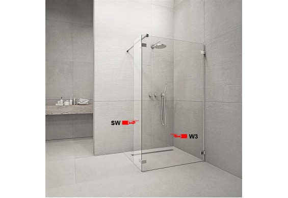 Фронтальна частина душової кабіни Radaway Euphoria Walk-in W3 120 (383134-01-01)