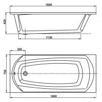 Ванна Vagnerplast Ebony 160x75 см (VPBA160EBO2X-01)