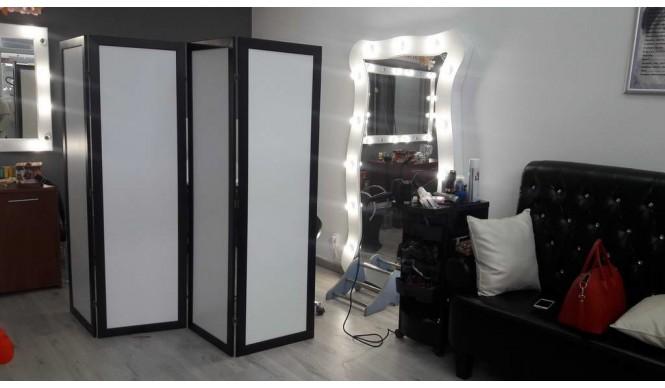 Ширма ДекоДім Економ на 4 секції 240х200 см, чорно-біла (DK11-22)