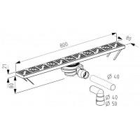 Трап для монтажу в підлогу Radaway Floorline 800x80 (CS80P)