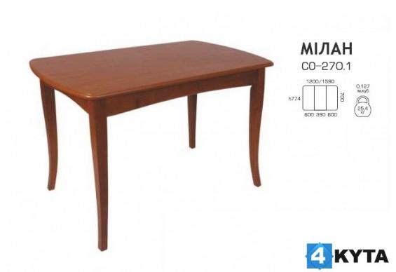 Стіл розкладний Мелітополь Меблі Мілан МДФ 1200(1600)х700 (СО-270.1)